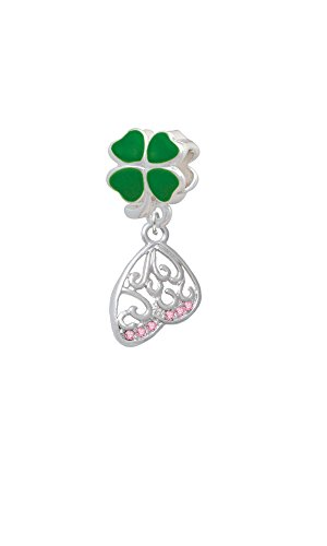 Open Pink Crystal Butterfly Wing - Green Four Leaf Clover Charm Bead