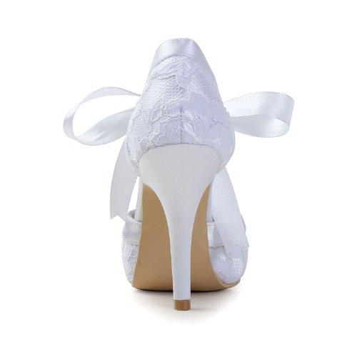 Minishion Gyayl452 Donna Stiletto Tacco Alto In Pizzo Scarpe Da Sera Festa Nuziale Sposa Mary Jane Pompe Bianco-10cm Tacco