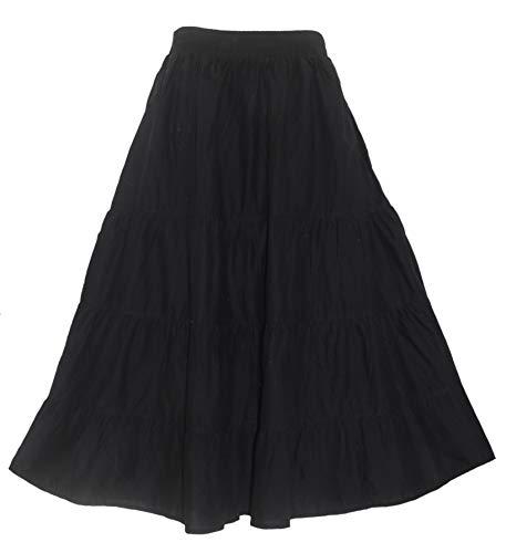Beautybatik Black Cotton Boho Gypsy Long Maxi Tier Flare Skirt 3X