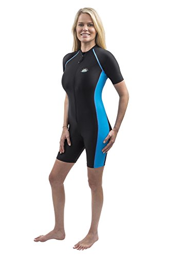 Women Full Body Sunsuit Swimsuit UV Protection Swimwear Black Blue (L)
