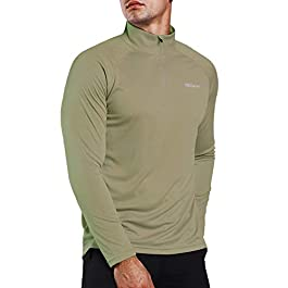 Ogeenier Men's 1/4 Zip Pullover UPF 50+ UV Sun Protection Long Sleeve Shirts Outdoor Running Athletic Shirts
