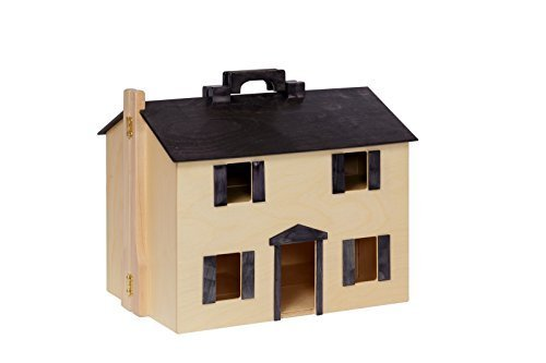 Amish-Made Wooden Doll House with 16 Piece Doll-House Furniture Set