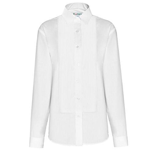 "(FRANKERS Women's 1/4"" Pleat, Poly Cotton Laydown Collar Tuxedo Shirt White Classic Tuxedo Shirt )"