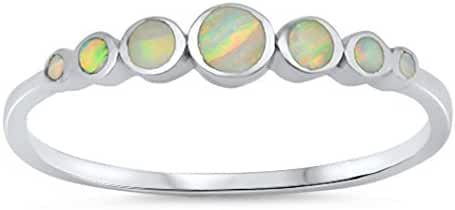 CHOOSE YOUR COLOR Sterling Silver Lab Created Opal Journey Ring (Size 4 - 10)