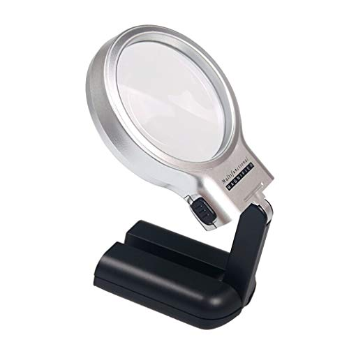 (ZH Portable Collapsible Magnifying Glass, LED with Lamp for The Elderly Reading Students Handheld Multi-Function Recognition Desktop Magnifying Glass)