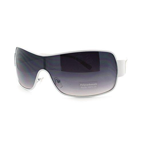 White Oversized Fashion Designer Sunglasses - Mens Oversized Rectangular Shield Designer Fashion Warp Sunglasses White