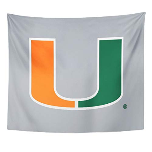Semtomn Tapestry Artwork Wall Hanging Florida University of Miami Canes Hurricanes Ibis Sebastian Sports 50x60 Inches Tapestries Mattress Tablecloth Curtain Home Decor -