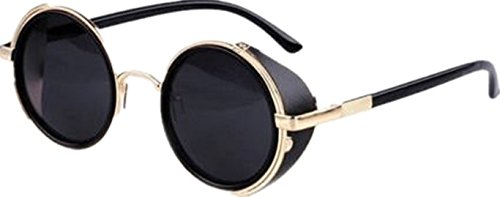 ff2b294e67a1 Ardisle v2015 Cyber Goggles Vintage Retro Blinder Steampunk Sunglasses 50s Round  Glasses (Black)