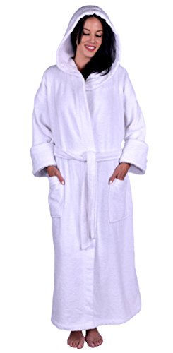 Terry Hooded Unisex Robe, 100 percent Turkish Natural Soft Cotton, Made in TURKEY, White, One size (L/XL) 54 Length