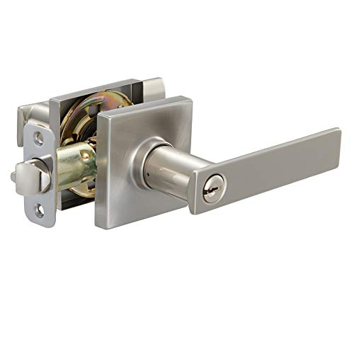 AmazonBasics Contemporary Stamford Door Lever - Entry - Satin Nickel