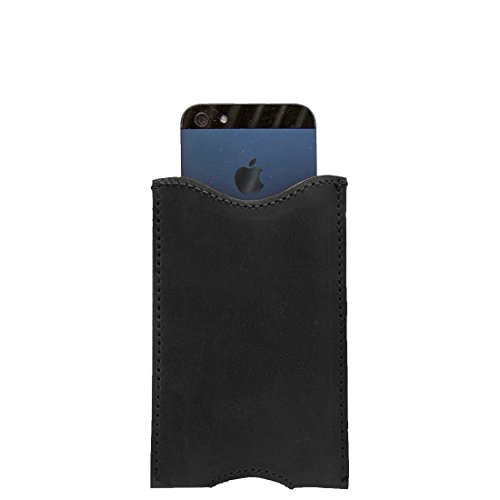 Durable Leather iPhone 5 Sleeve Handmade by Hide & Drink :: Charcoal Black