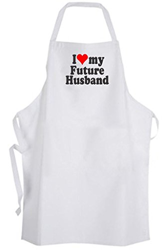 I Love my Future Husband Adult Size Apron - Heart Bride to be Wedding Wife Groom by Aprons365