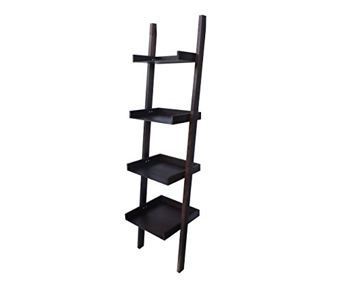 4 Tier Bookcase Ladder Shelf Unit Display Shelves Storage Shelving Leaning Bookshelf In Espresso Color Multi Use For Any Rooms Indoor By Amayo Home
