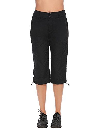 Black Cargo Capris (Women's Quick Dry Lightweight Trail Capri Pant,Black,Large)