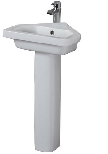 Barclay Products 3-1091WH Resort Corner Pedestal Lavatory with 1-Hole, (Corner Pedestal Lavatory)
