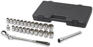 25 Pc. 1/2 Inch Drive Pass-Thru Vortex Ratchet Set-2pack