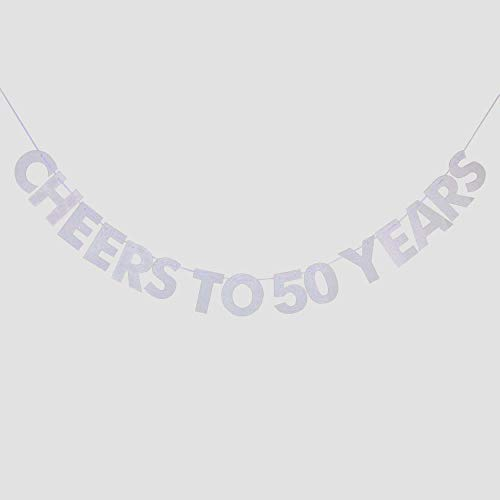 (Cheers to 50 Years Banner, 50th Birthday, Wedding Anniversary, Retirement Party Bunting Sign Decorations Photo Props, Party Favors, Supplies, Gifts, Themes and)