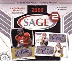 SAGE Squared 2009 Football Hobby Box 8 Packs per Box 3 Auto's per Pack Autograph