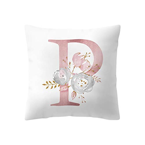 KASAAS Letter Print Pattern Decorative Pillowcases Kids Room Decoration Cushion English Alphabet Covercases(One Size,P)