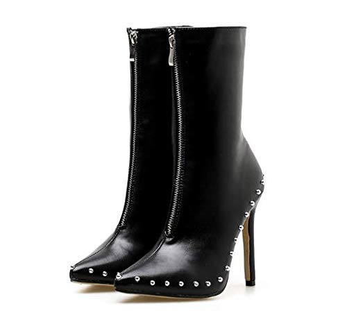 in short high boots and autumn Black and Metal winter rivets profile nYAxqag
