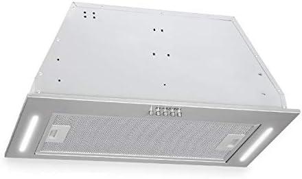Klarstein Down Under - Campana extractora, Extractor de humos, 60 cm, Absorción de 590 m³/h, 190 W de potencia en 3 niveles, LED, Acero inoxidable, 61 dB, Material de montaje, Plateado: Amazon.es: Hogar