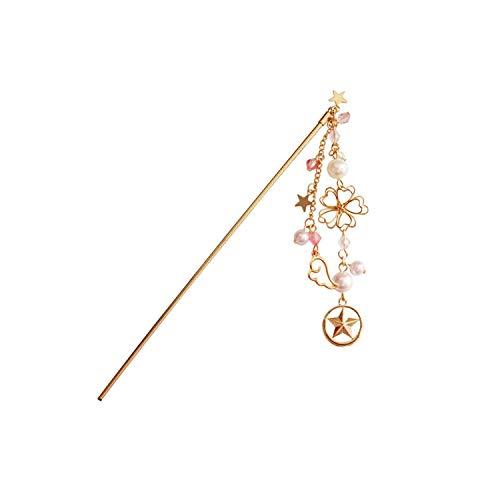 New Hair Jewelry Fashion Sweet Beautiful Flower Wings Stars Faux Pearl Charms Women Hair Sticks Jewelry,hollow flower
