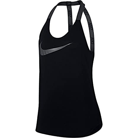 fe7b28099 NIKE, Canotta Breathe Elastika, Donna, Nero (Black/cool Grey), L ...