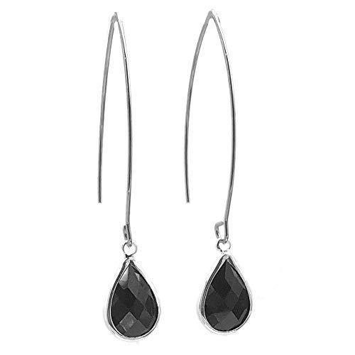 Sabai NYC Small Bezel Set Faceted Glass Teardrop Threader Earrings (Black)