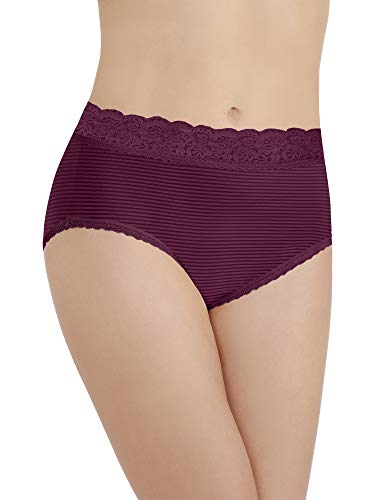 Vanity Fair Women's Flattering Lace Brief Panty 13281, Chilled Wine Stripe, Medium/6