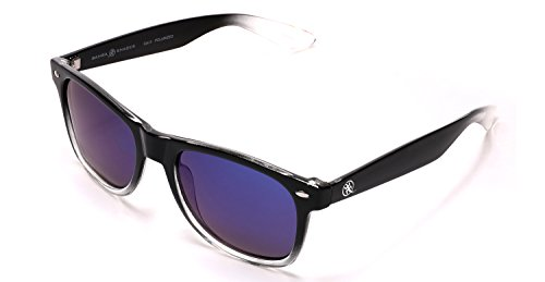 Samba Shades Polarized Modern Venice Horned Rim Sunglasses with Black and Clear Frame, Mirrored Lens