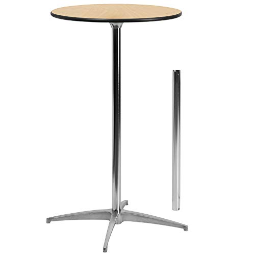 Flash Furniture 24'' Round Wood Cocktail Table with 30'' and 42'' Columns (Plastic Table High)