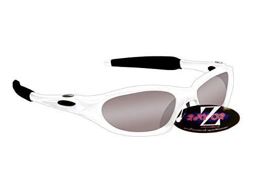 RayZor Professional Lightweight UV400 White Sports Wrap Cricket Sunglasses, With a Smoked Mirrored Anti-Glare Lens by Rayzor