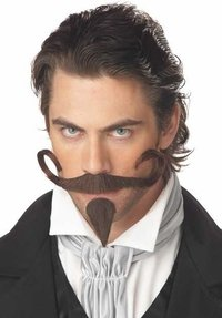 Gambler Costume Halloween (California Costumes Men's The Gambler Moustache & Chin Patch,Brown,One Size Costume Accessory)