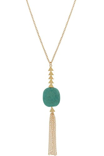 Je Me Costume (TRENDY FASHION JEWELRY SLEEK GEO, BEAUTIFUL STONE, CHAIN FRINGE PENDANT NECKLACE BY FASHION DESTINATION | (Turquoise))