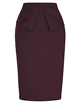 PrettyWorld Vintage Dress Women's Wear to Work Stretchy Office Pencil Skirt