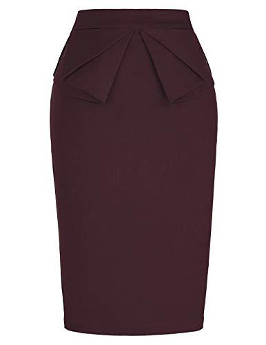 PrettyWorld Vintage Dress Brown Pencil Skirt for Women Business Office Skirt Brown L
