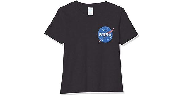 Brands In Limited NASA Insignia Logo Pocket Camiseta para Niñas: Amazon.es: Ropa y accesorios