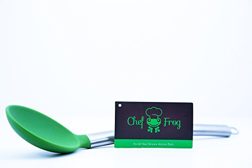 BEST Large Silicone Kitchen Mixing Serving Spoon by Chef Frog - For Home or Professional Use - Features our Stay-Cool Stainless Steel Handle by Chef FrogTM (Image #3)