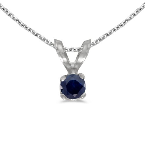 This 14k white gold round sapphire pendant features a 3 mm genuine natural sapphire with a 0.09 ct total weight. by sendmyjewelry