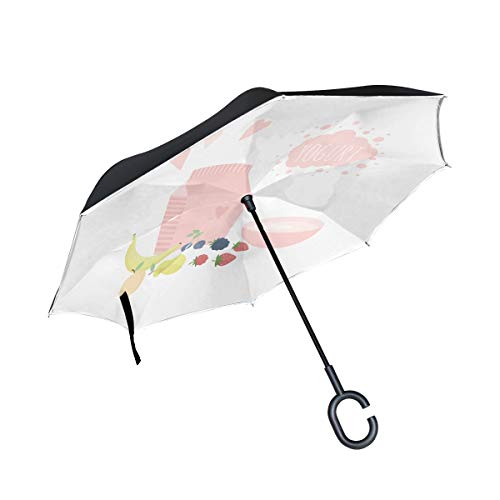 Health Cute Yogurt Cup Drink Double Layer Folding Anti Uv Protection Waterproof Windproof Straight Cars Golf Reverse Inverted Umbrella Stand With C-shaped Handle For Car Rain Outdoor