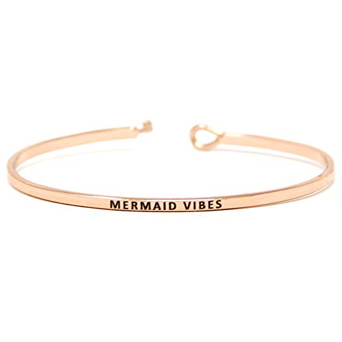 Me Plus Inspirational Mermaid Vibes Positive Message Engraved Thin Bangle Hook Bracelet (Mermaid Vibes - Rose Gold, Brass)