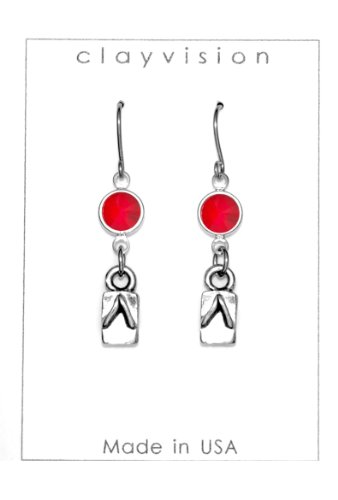 Clayvision Japanese Geta Slipper Charm Earrings with Ruby Colored Swarovski Crystals Red July ()