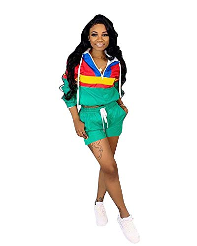 Halfword Women's Hooded Front Zipper Long Sleeve Two Piece Jumpsuits Rompers Striped Self Tie Tracksuits with Pockets Green ()