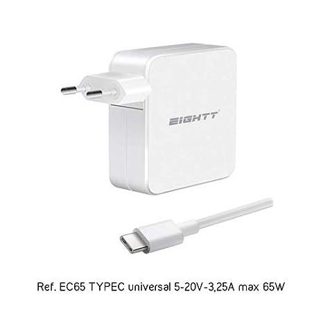 EIGHTT Cargador Universal Type C 5-20V-3,25A MAX 65W: Amazon ...