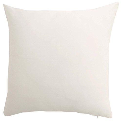 Craftbot Silk Throw Pillow Cover White 15x15 inch Pack of 2 100% Pure Silk Dupioni Cushion Cover (Dupion Cushion Silk)