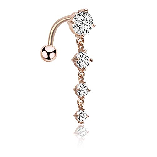 (CrazyPiercing 14G Reverse Belly Ring, Cubic Zirconia Long Dangle Navel Ring, Waterdrop Dangling Body Piercing Belly Button Ring for Women Girls (Rose Gold))