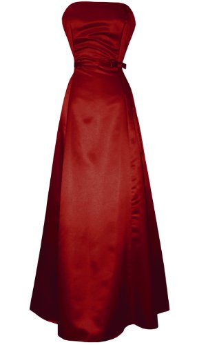 50s Strapless Satin Long Bridesmaid Prom Dress Formal Junior Plus Size, 4X, Red