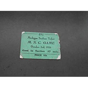1936 MICHIGAN STATE AT MICHIGAN COLLEGE FOOTBALL TICKET STUB