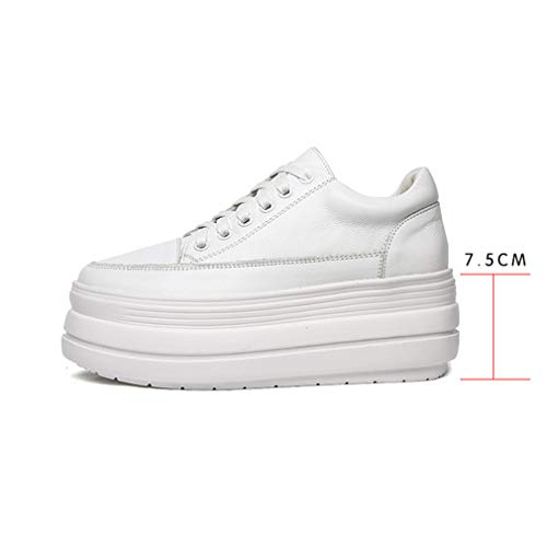 36 Bajas Con Zapatos Cuero Deporte Yan De Caminar Negro Blanco white Para Mujer Deportivas Plataforma Zapatillas Cordones dwaWSqzWf