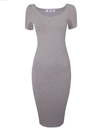 etheart Short Sleeve Midi Dress TWCWD053-D065-GRAY-US L ()
